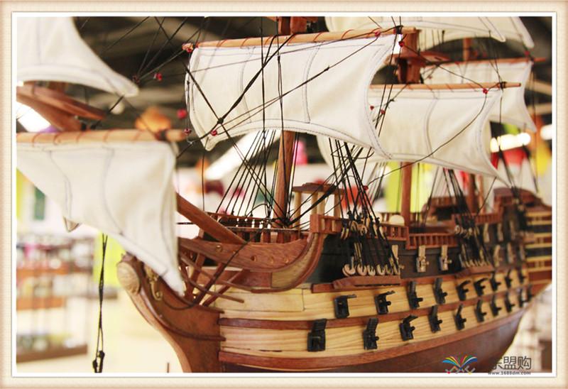 越南 一帆风顺 实木帆船摆件  0206021图片七