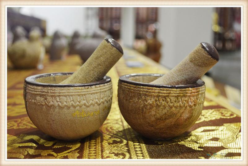 柬埔寨 砂石传统碾磨钵体 柬埔寨工艺品 居家用品 0205236图片二