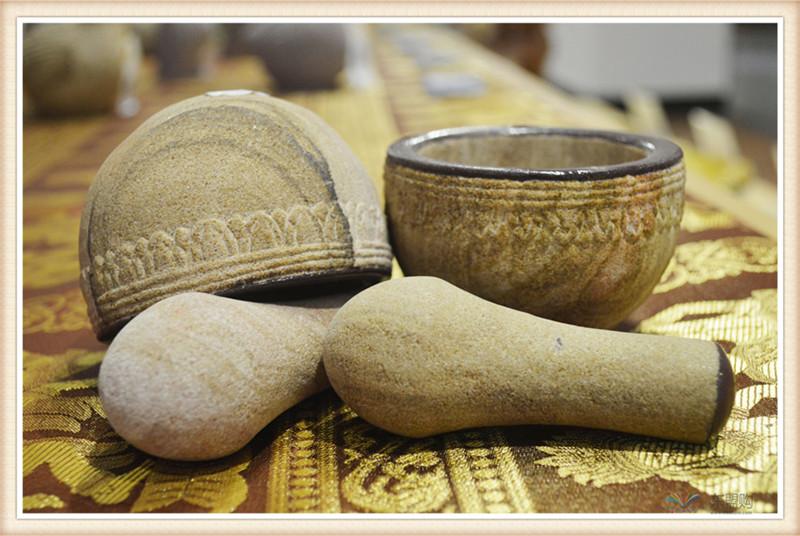 柬埔寨 砂石传统碾磨钵体 柬埔寨工艺品 居家用品 0205236图片三