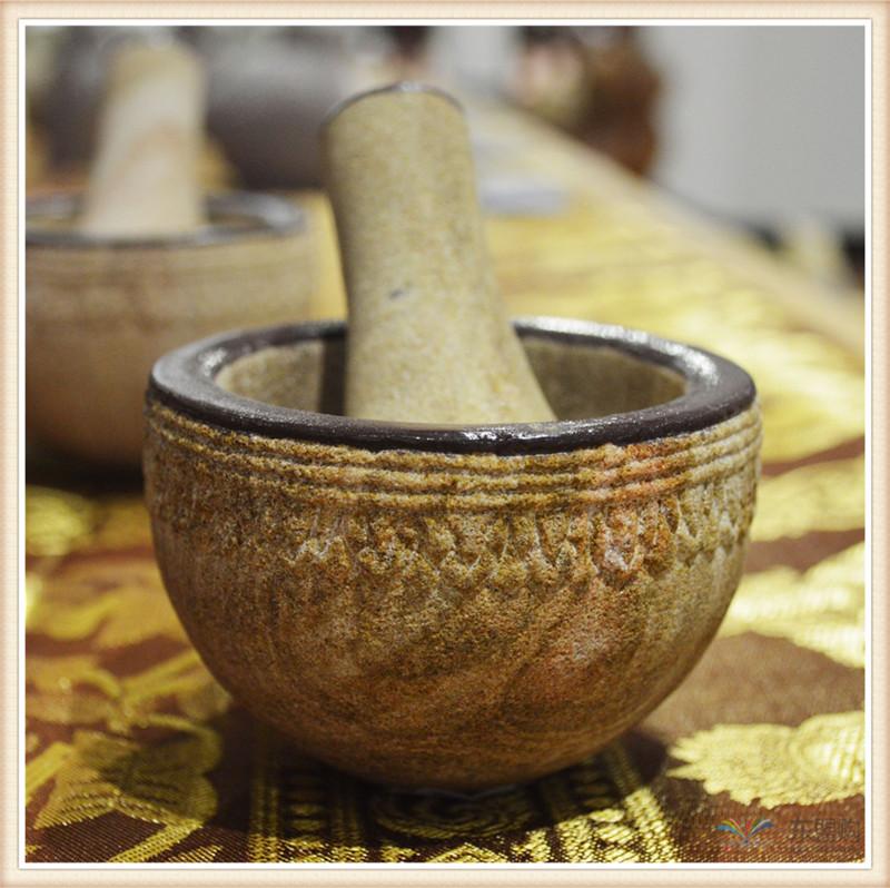 柬埔寨 砂石传统碾磨钵体 柬埔寨工艺品 居家用品 0205236图片四