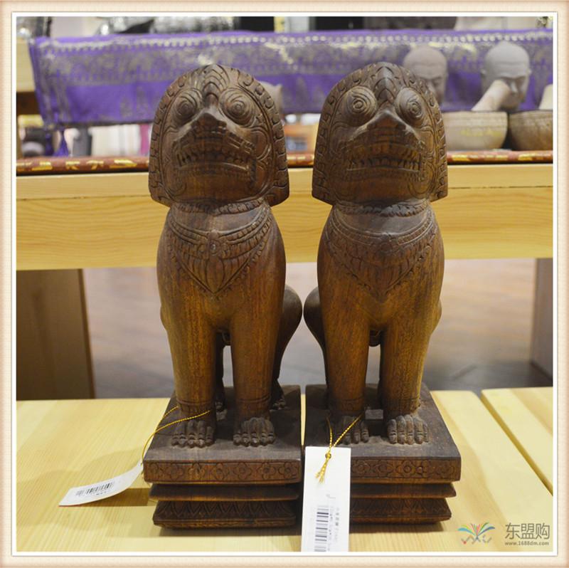 柬埔寨 手工雕小武哥狮子工艺品 工艺品摆件 0203659图片二