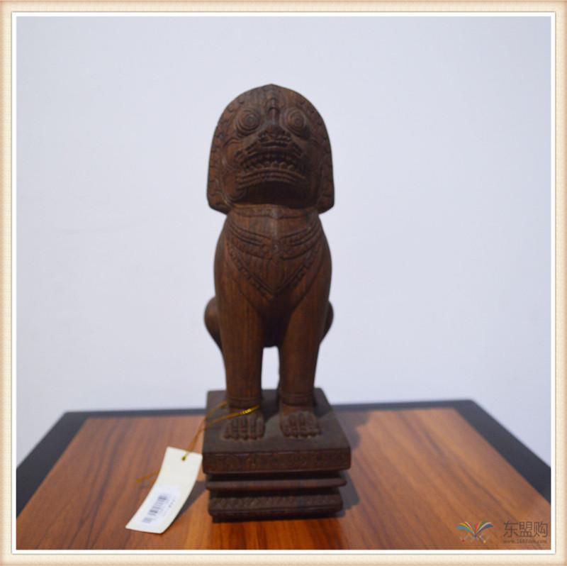 柬埔寨 手工雕小武哥狮子工艺品 工艺品摆件 0203659图片四