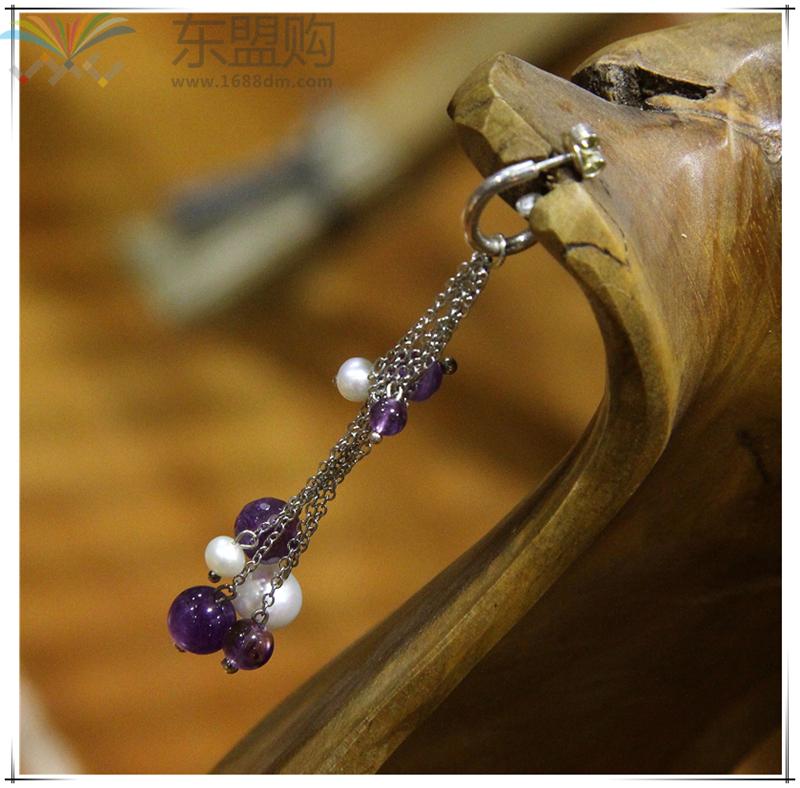 柬埔寨 饰品紫水晶珍珠优雅系列耳环 0203789图片二