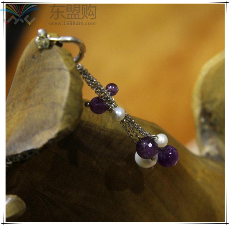 柬埔寨 饰品紫水晶珍珠优雅系列耳环 0203789图片三