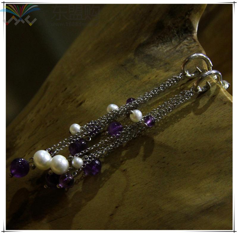 柬埔寨 饰品紫水晶珍珠优雅系列耳环 0203789图片六