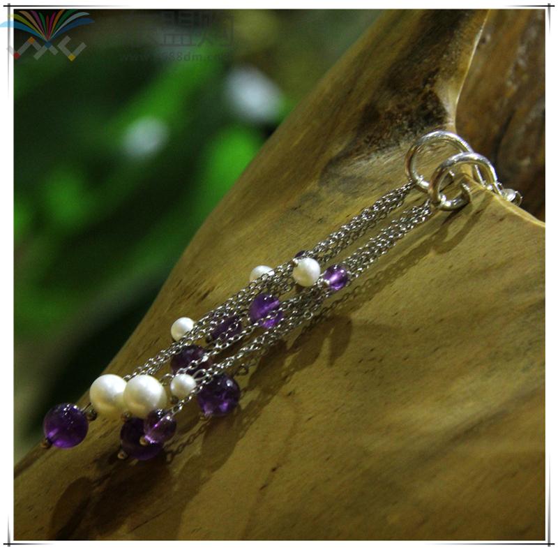 柬埔寨 饰品紫水晶珍珠优雅系列耳环 0203789图片七