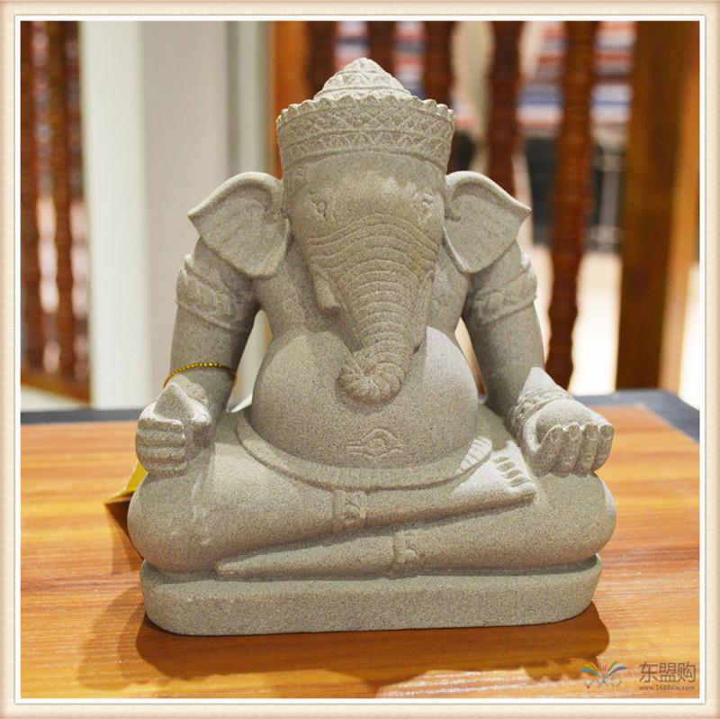 柬埔寨 砂岩雕智慧象神 0203654图片二