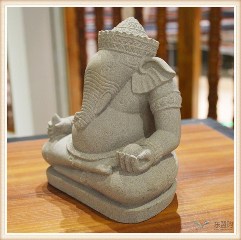 柬埔寨 砂岩雕智慧象神 0203654图片三