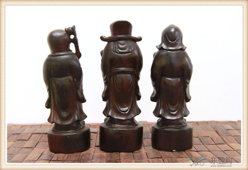 老挝 酸枝木雕福禄寿三件套 0202804图片十四