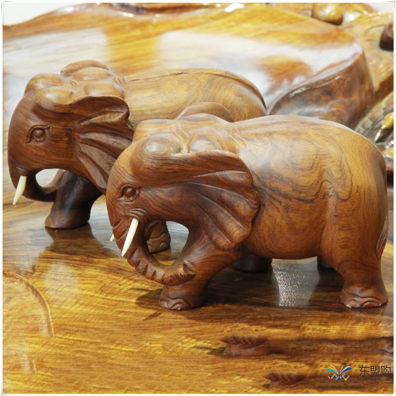 老挝 草花梨小象 0203150图片二