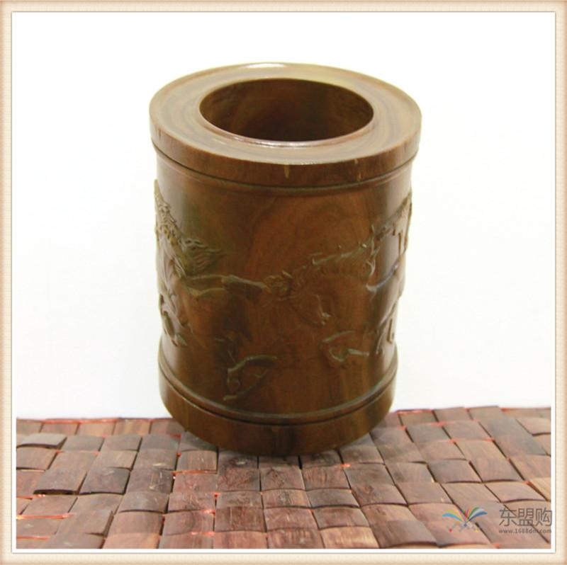 老挝 绿檀木手工雕刻笔筒 0202830图片三