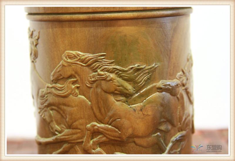老挝 绿檀木手工雕刻笔筒 0202830图片五