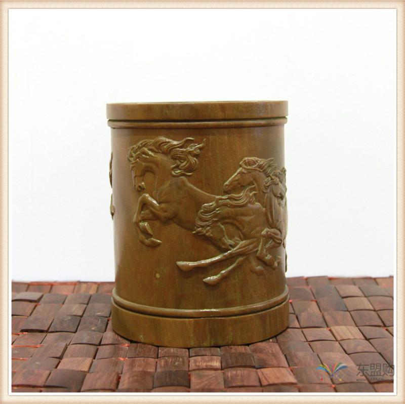 老挝 绿檀木手工雕刻笔筒 0202830图片二