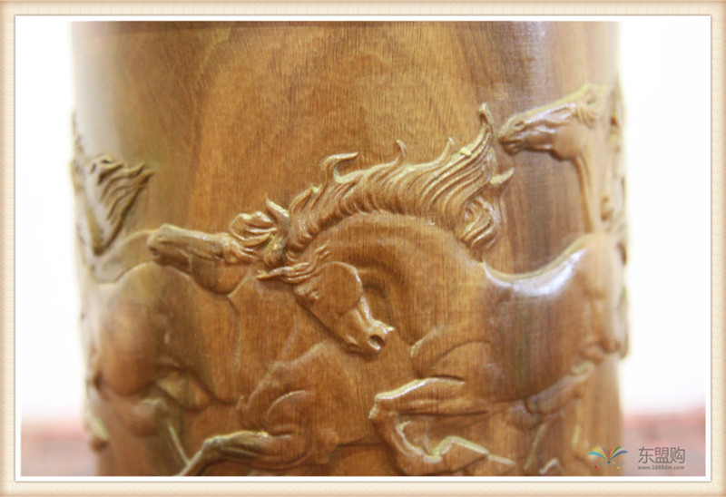 老挝 绿檀木手工雕刻笔筒 0202830图片八