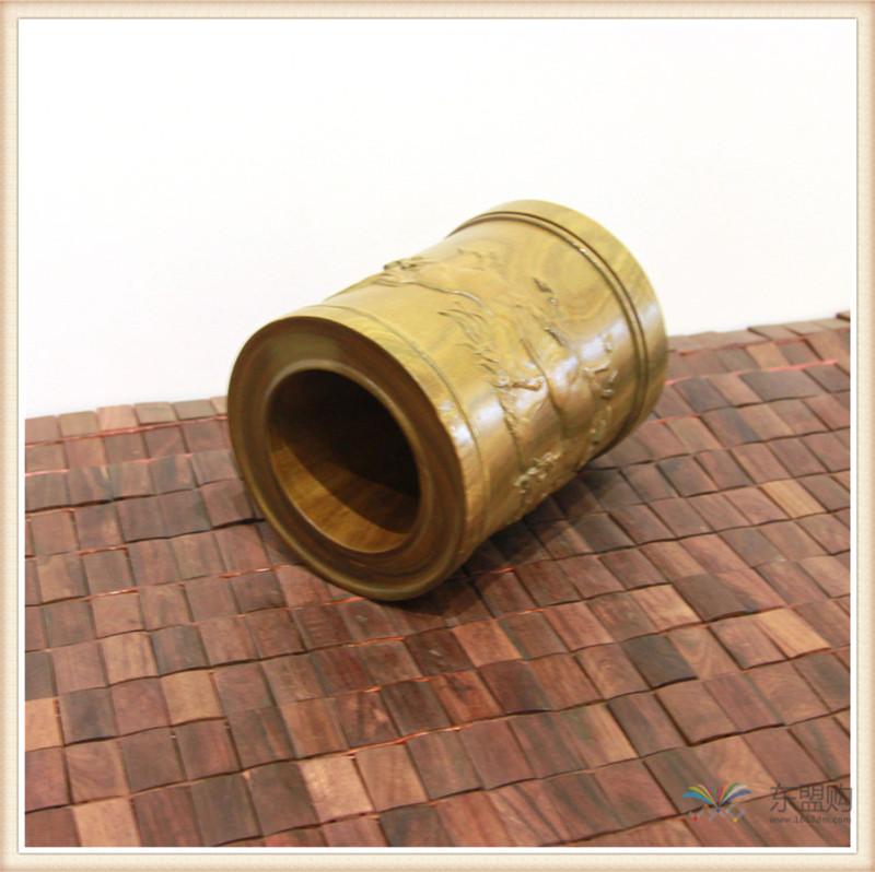 老挝 绿檀木手工雕刻笔筒 0202830图片四