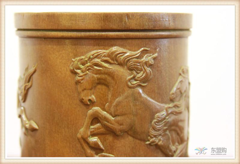 老挝 绿檀木手工雕刻笔筒 0202830图片六