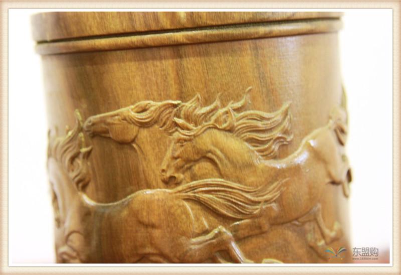 老挝 绿檀木手工雕刻笔筒 0202830图片七