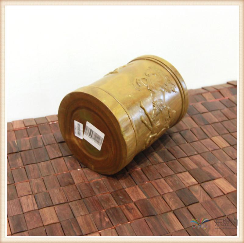 老挝 绿檀木手工雕刻笔筒 0202830图片十