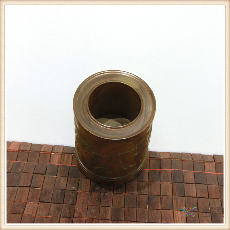 老挝 绿檀木手工雕刻笔筒 0202830图片九