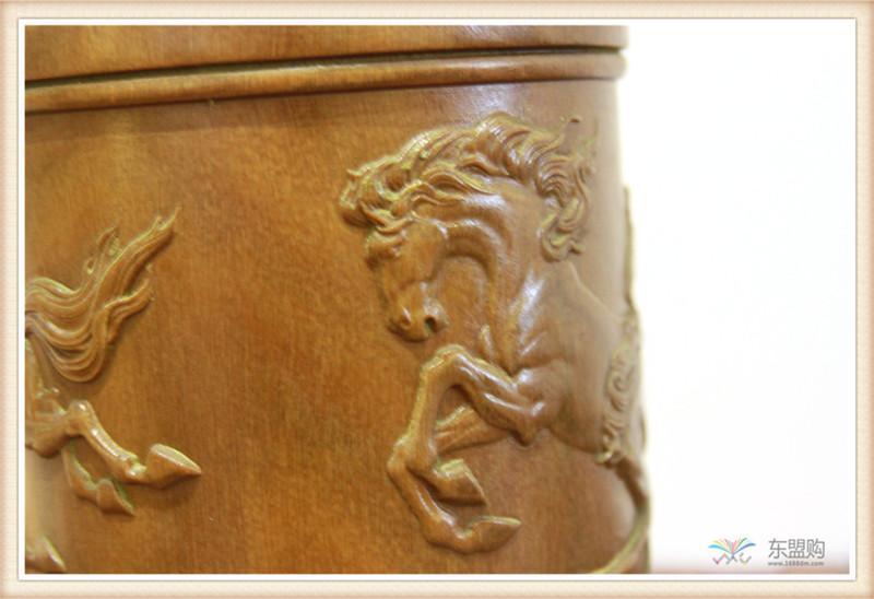 老挝 绿檀木手工雕刻笔筒 0202830图片十一