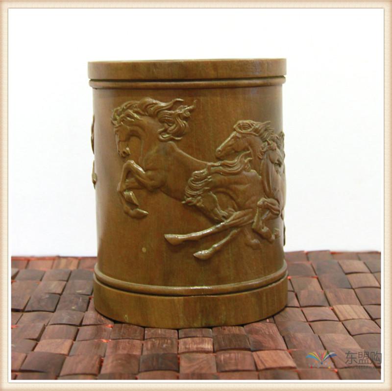 老挝 绿檀木手工雕刻笔筒 0202830图片十二