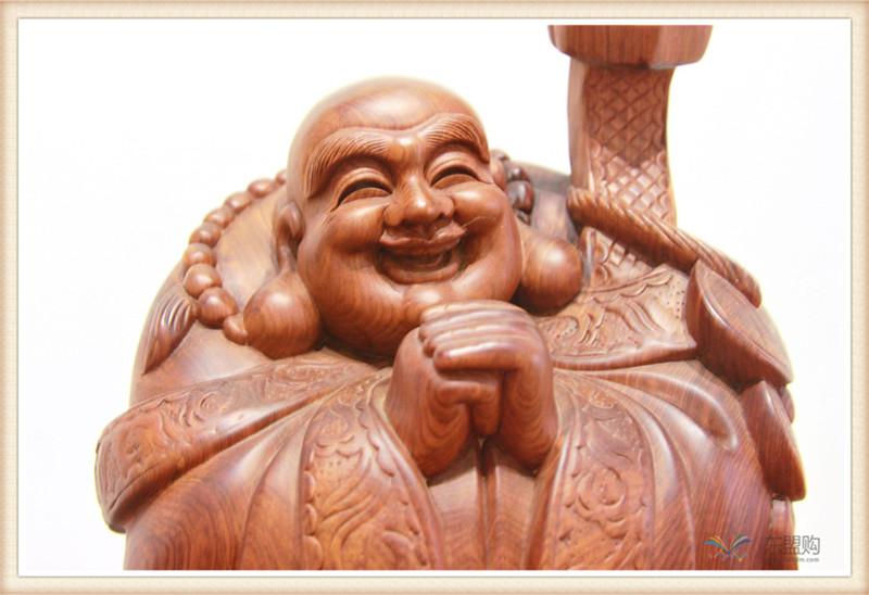 老挝 草花梨如意乐佛 木雕如意乐佛 工艺品 0200394图片七