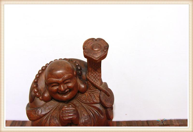 老挝 草花梨如意乐佛 木雕如意乐佛 工艺品 0200394图片六