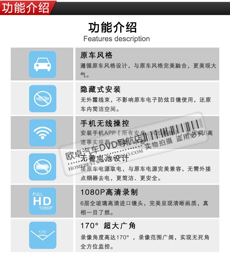 奔驰GLK专车专用隐藏式行车记录仪1080P高清图片八