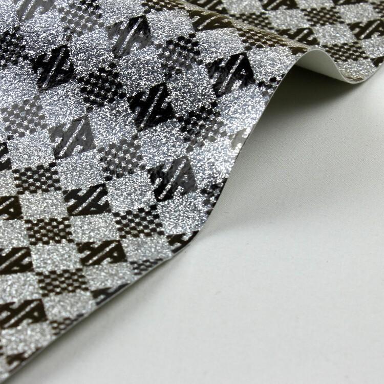 时尚七彩方块墙纸会所墙布荧光革 亮片皮革鞋包装饰图片六