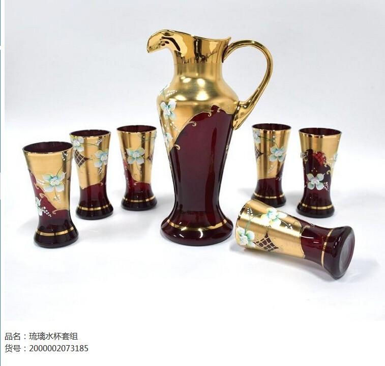 土耳其 尊贵漆金琉璃水杯套组图片一