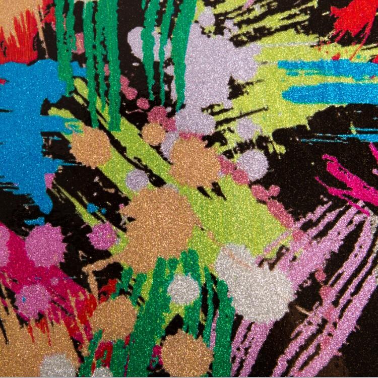 厂家直时尚七彩皮革 印花合成闪光皮革 箱包装饰纤革图片七