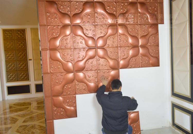 迪沃斯欧式人造革皮雕软包背景墙图片五