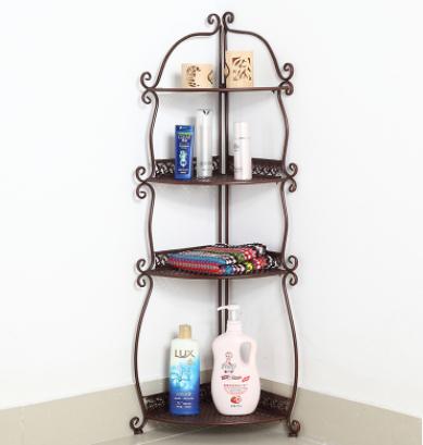 浴室置物架卫生间层架三角落地角架欧式铁艺墙角收纳架图片二
