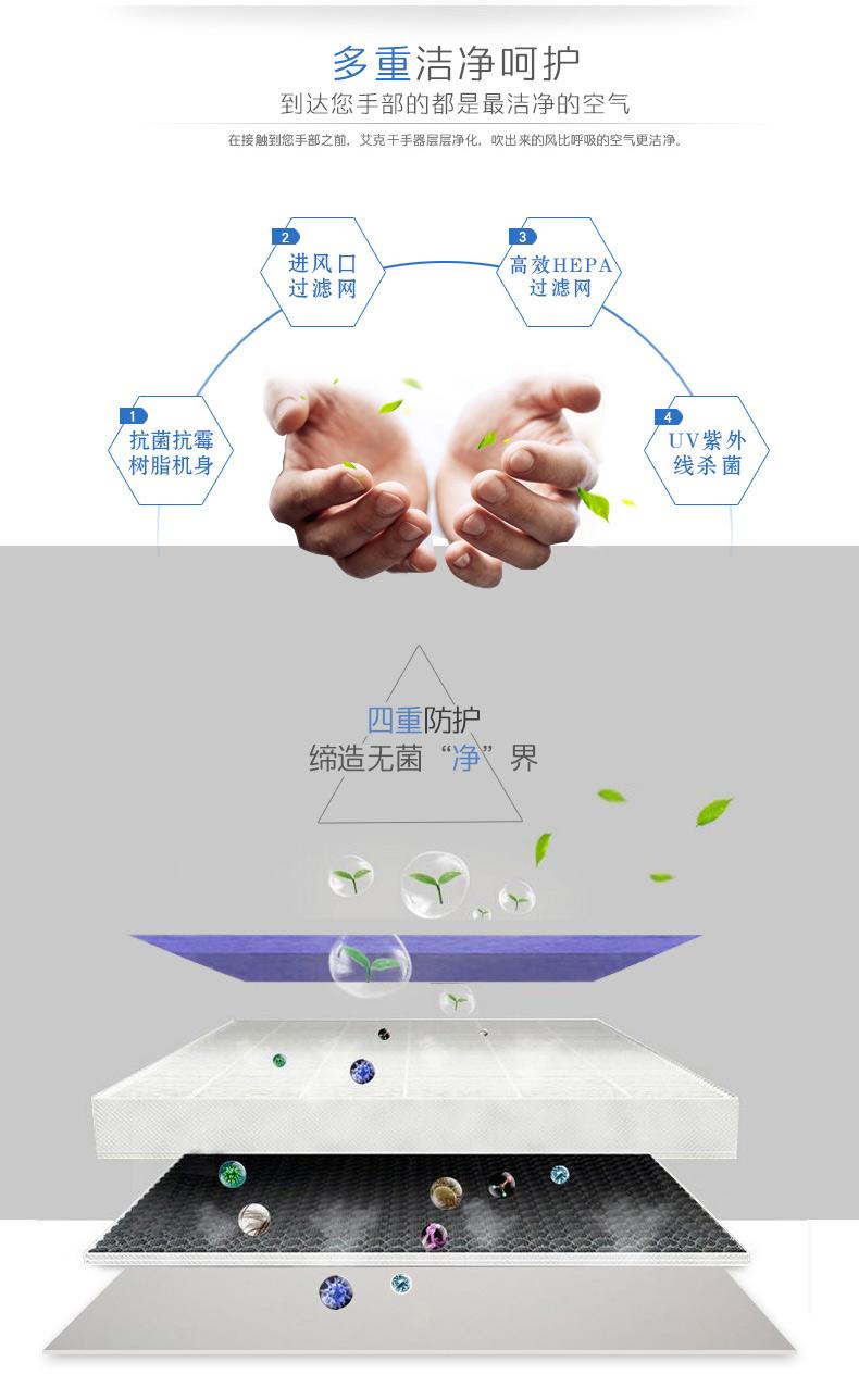 AIKE艾克智美变频干手器 双面喷气式干手机图片三