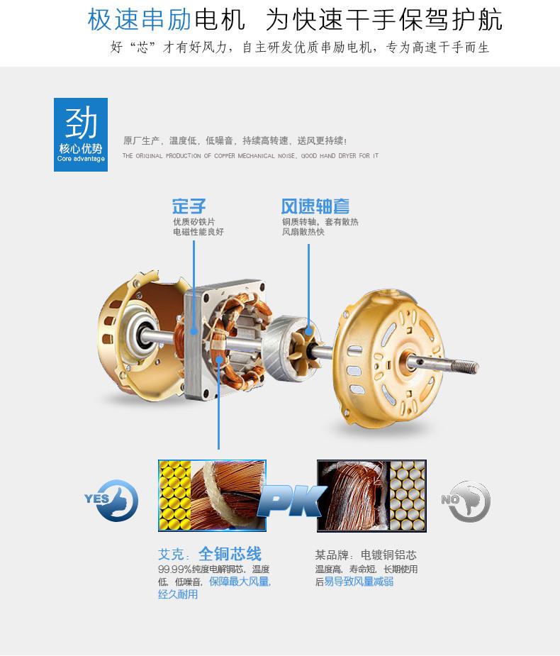 AIKE艾克高速干手器 简洁型烘手器AK2630图片二
