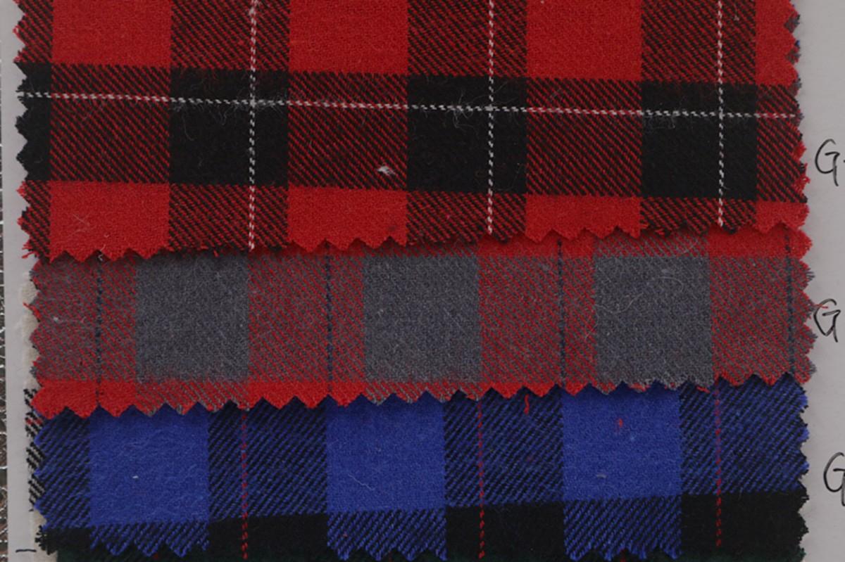 厂家批发 秋冬全棉色织布 磨毛格子布 服装衬衫面料图片一