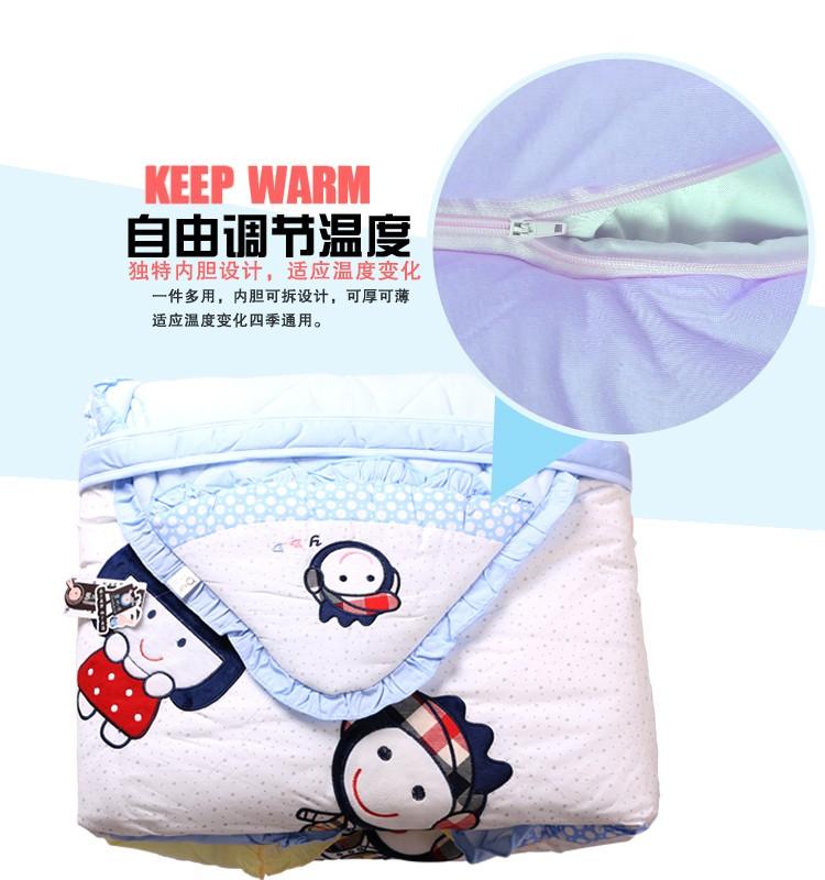 婴比迪婴儿带内胆抱被纯棉包被抱毯新生儿宝宝空调被秋图片五