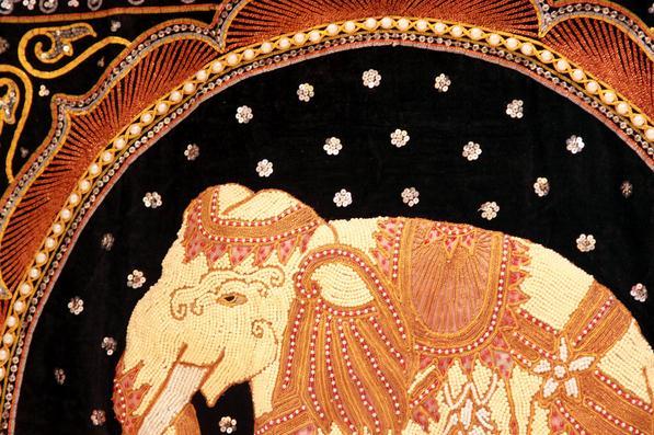 【泰国进口】手工珠绣大象挂件图片四