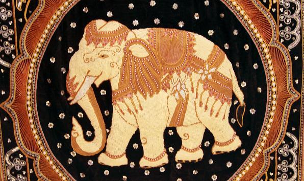 【泰国进口】手工珠绣大象挂件图片五