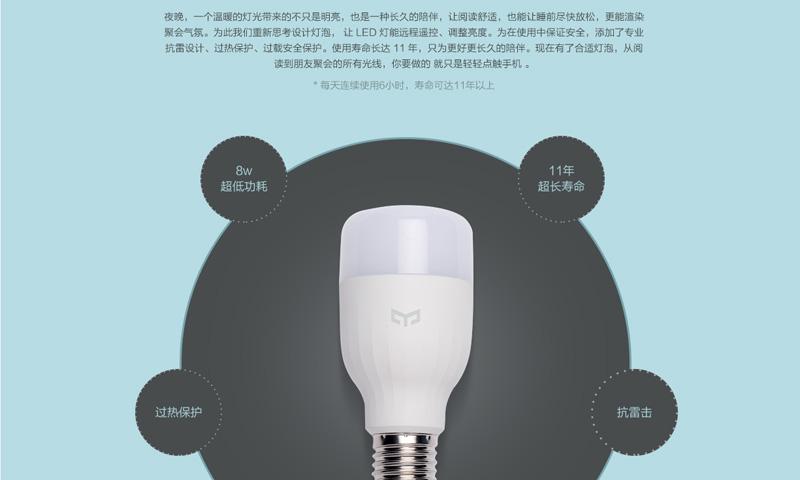 Yeelight LED智能灯泡 亮度自由调节图片二