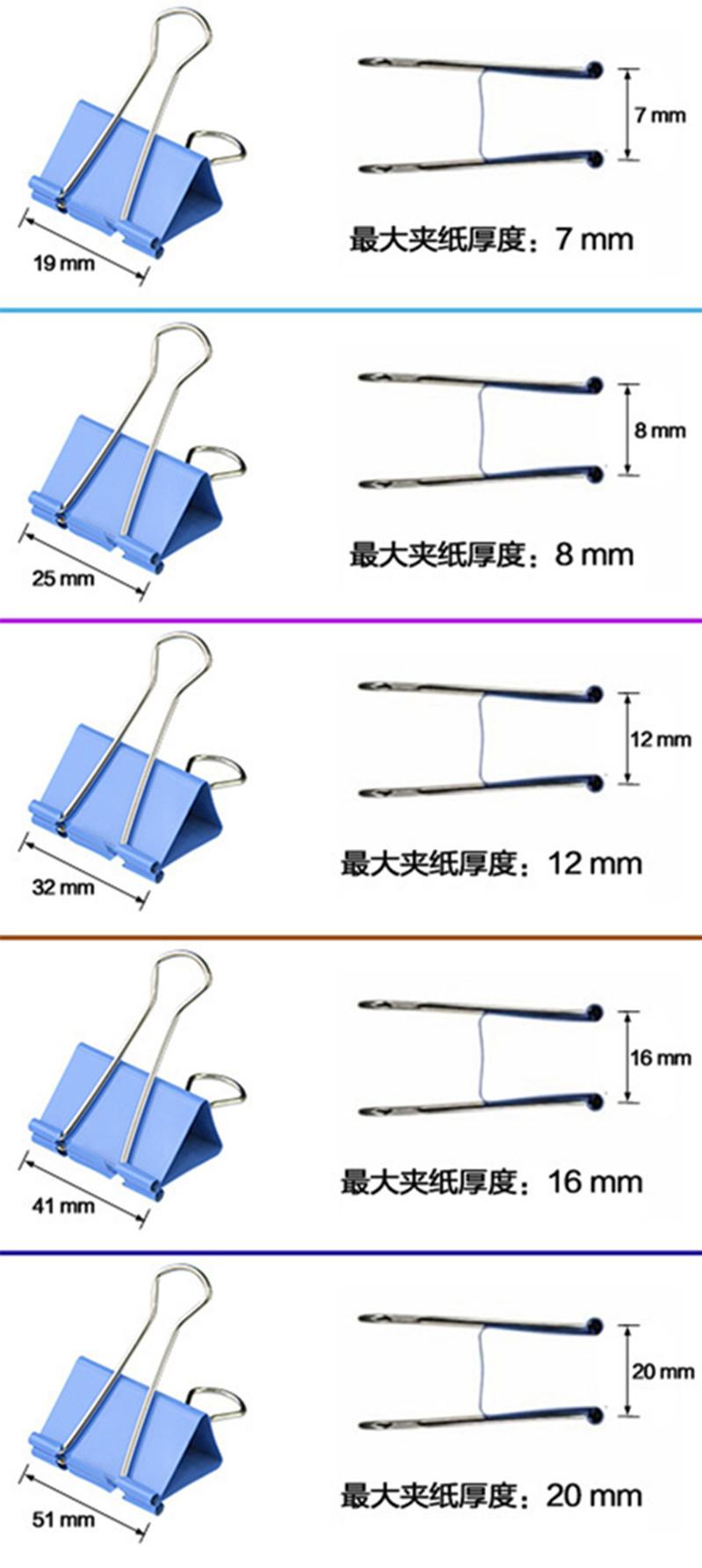 BM  25mm正品翰宏彩色凤尾夹长尾票夹图片四