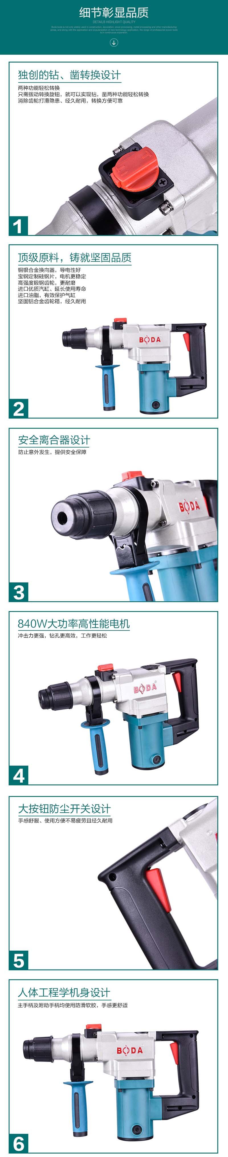 博大H1-26多功能电锤电镐两用 家用大功率冲击钻图片二