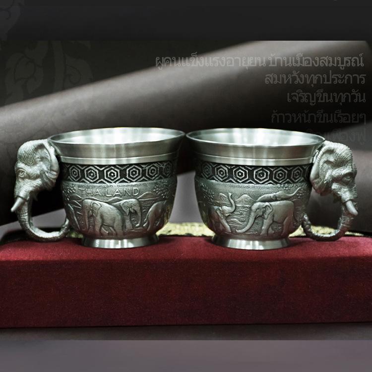 泰国 特色 商务礼盒套装 锡金杯 茶杯 酒杯 小象图片一