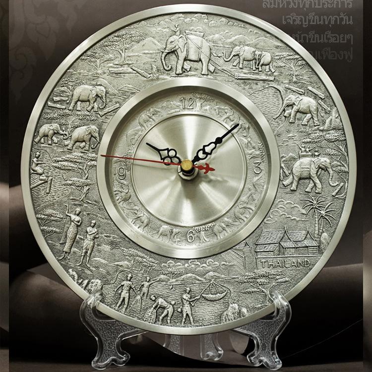 泰国 锡金盘钟 圆形象图 特色钟表摆件 工艺品 团图片一