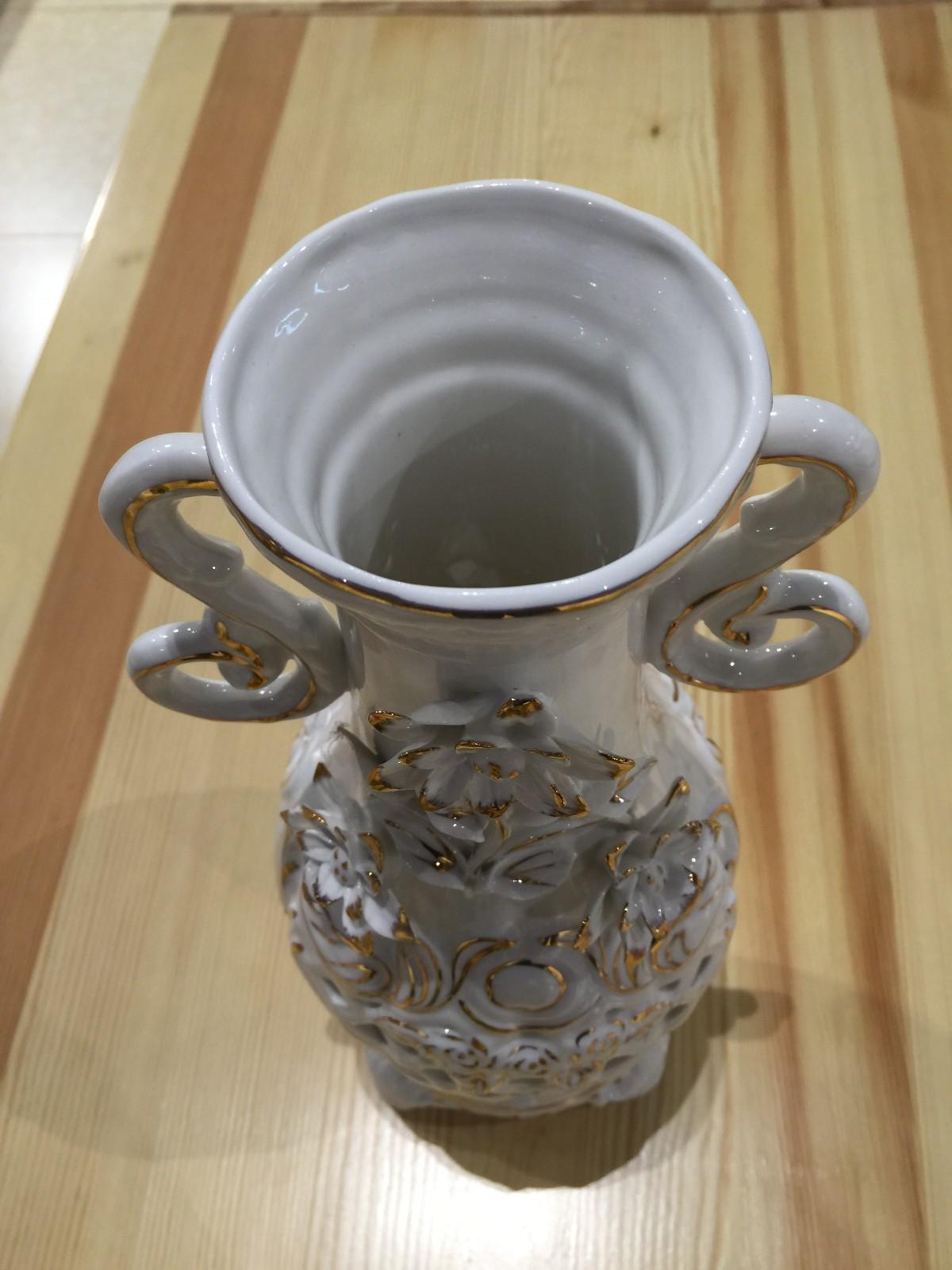 俄罗斯陶瓷工艺品 玫瑰花瓶图片五