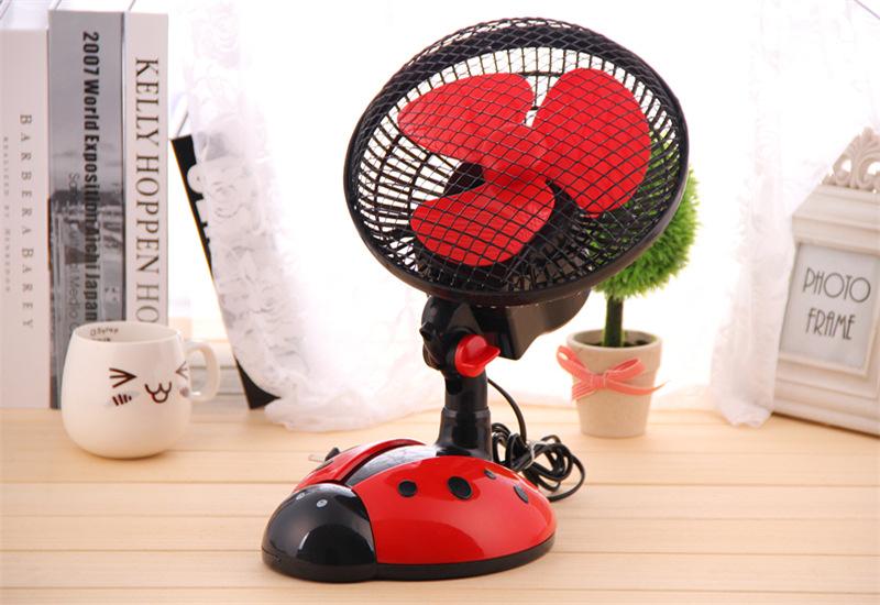 创意甲虫卧室摇头扇桌面电风扇小型台扇转页扇图片七