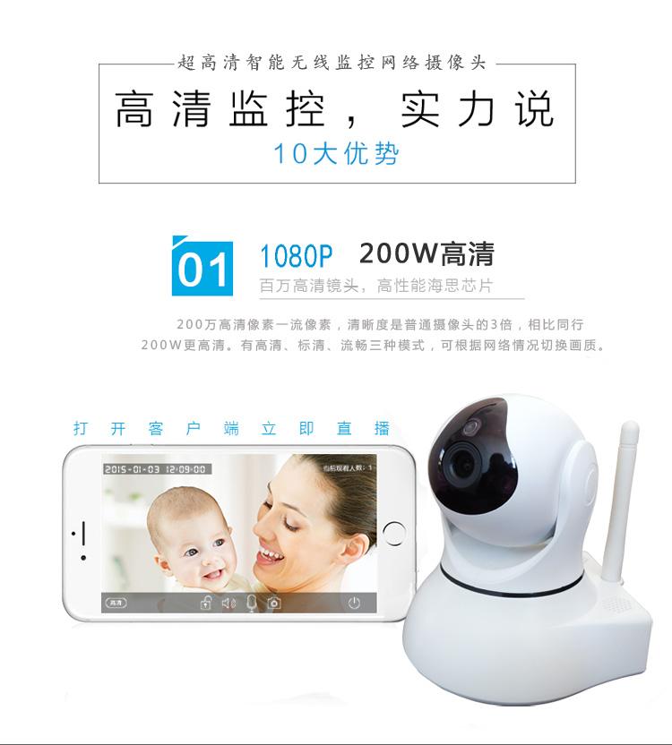 1080P网络摄像机百万高清无线摄像头手机远程监控图片九