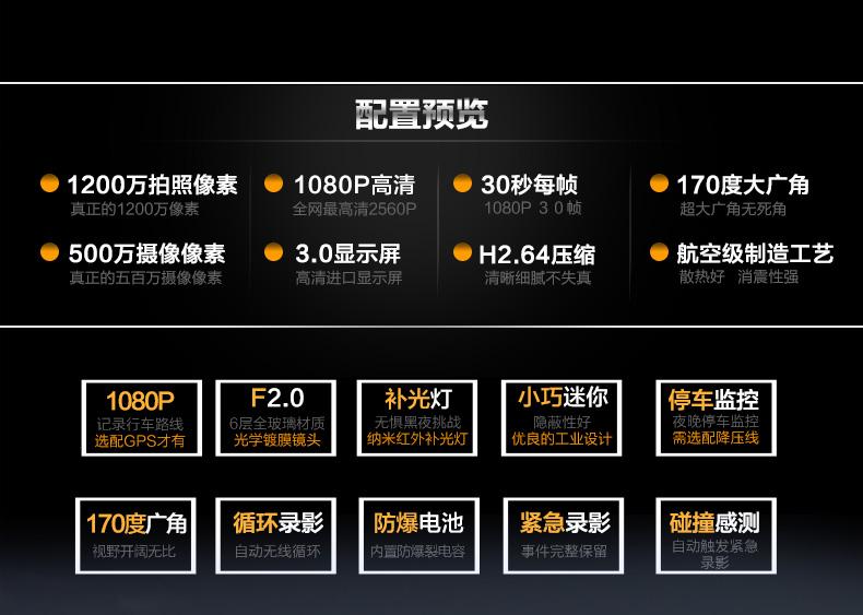 安培A306迷你超高清夜视大广角1080P行车记录图片三