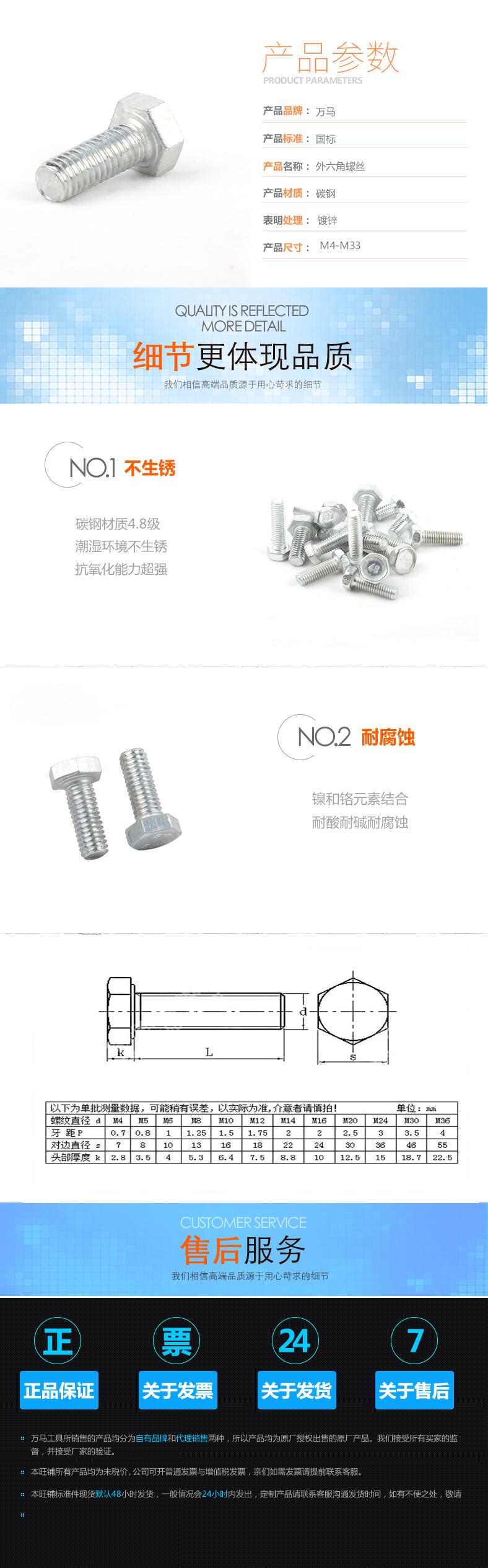 厂家直销  4.8级碳钢镀白锌 外六角螺丝图片一