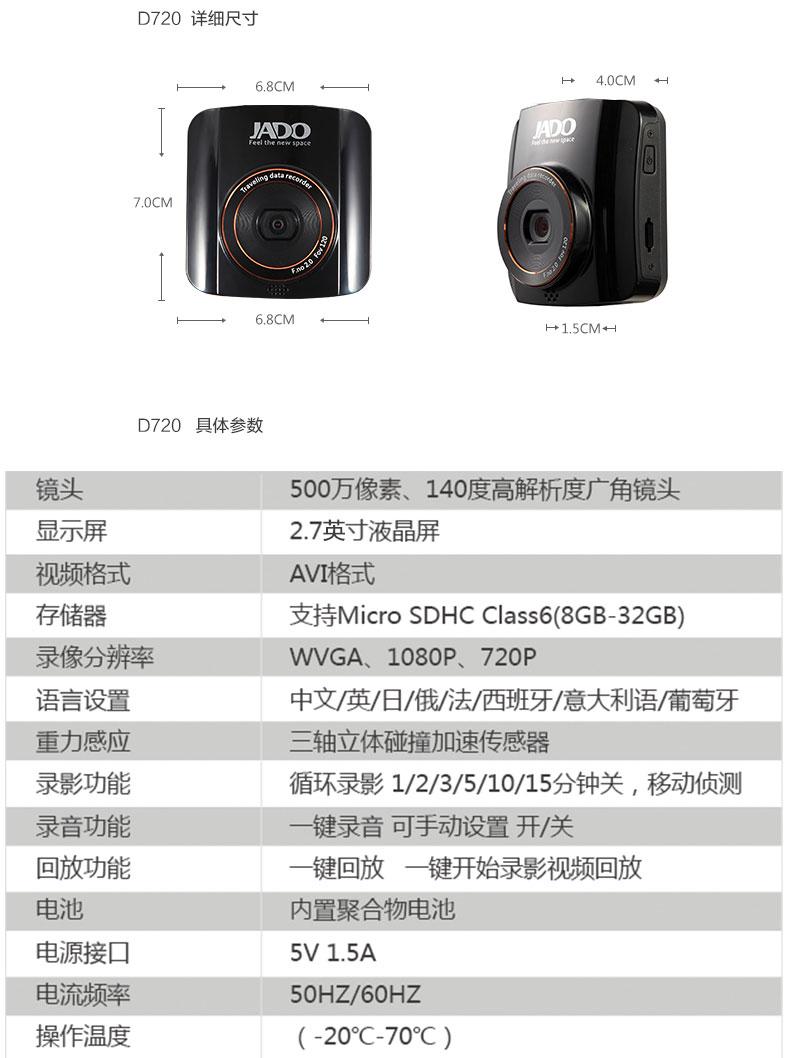 捷渡D720汽车车载行车记录仪 高清1080P图片十二